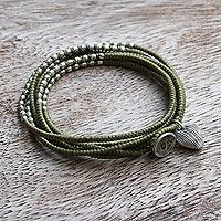 Silver accented wrap bracelet,