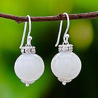 Jade dangle earrings, 'Perfect Orbs' - Jade and Sterling Silver Dangle Earrings from Thailand
