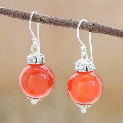 Carnelian dangle earrings, 'Perfect Orbs' - Carnelian and Sterling Silver Dangle Earrings from Thailand