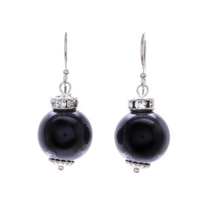 Onyx and Sterling Silver Dangle Earrings from Thailand