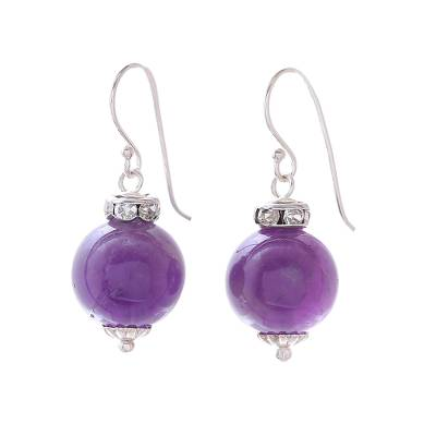Amethyst and 925 Silver Dangle Earrings from Thailand