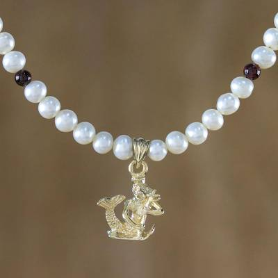 3178f1431ecfb Gold Plated Cultured Pearl and Garnet Aquarius Necklace, 'Radiant Aquarius'