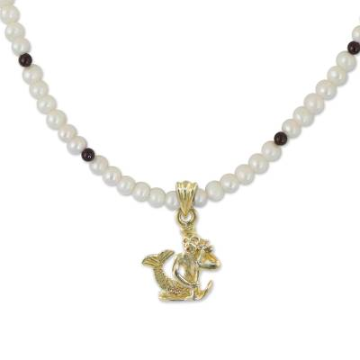 Gold plated cultured pearl and garnet pendant necklace, 'Radiant Aquarius' - Gold Plated Cultured Pearl and Garnet Aquarius Necklace