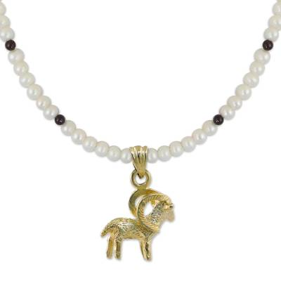 Gold plated cultured pearl and garnet pendant necklace, 'Radiant Aries' - Gold Plated Cultured Pearl and Garnet Aries Necklace