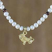Gold plated cultured pearl and garnet pendant necklace, 'Radiant Leo'