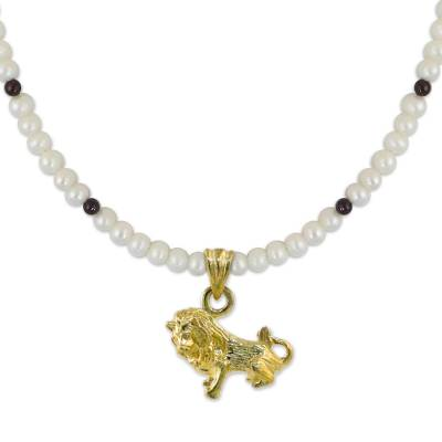 Gold plated cultured pearl and garnet pendant necklace, 'Radiant Leo' - Gold Plated Cultured Pearl and Garnet Leo Pendant Necklace