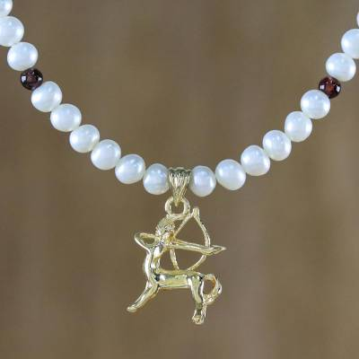 Gold plated cultured pearl and garnet pendant necklace, 'Radiant Sagittarius' - Gold Plated Cultured Pearl and Garnet Sagittarius Necklace