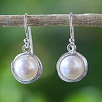 Cultured pearl dangle earrings, 'Pearl Radiance' - Cultured Pearl Dangle Earrings from Thailand