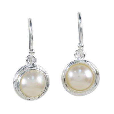 Cultured Pearl Dangle Earrings from Thailand