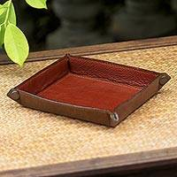 Leather catchall, 'Classic Brown' - Handcrafted Thai Leather Catchall in Brick and Copper
