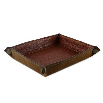 Handcrafted Thai Leather Catchall in Brick and Copper