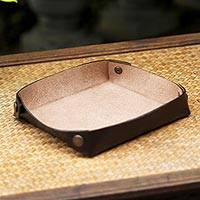 Leather catchall, 'Spiced Espresso' - Handcrafted Thai Leather Catchall in Espresso and Nutmeg