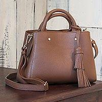 Leather handbag, 'Chic' - Brown Leather Three Compartment Hand Crafted Handbag