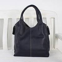 Leather tote, 'Everyday Companion' - Handcrafted Leather Tote in Navy Blue from Thailand