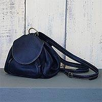 Leather backpack, 'Chic Pack' - Convertible Black Leather Backpack with Zippered Pockets