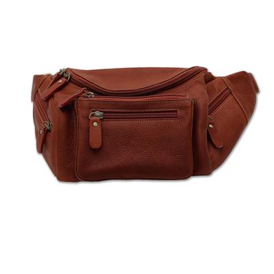 Novica Leather waist bag, Happy Traveler