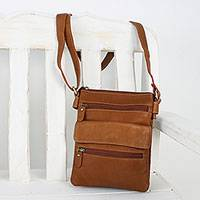 Leather sling, 'Compact in Russet' - Handcrafted Leather Sling Handbag in Russet from Thailand