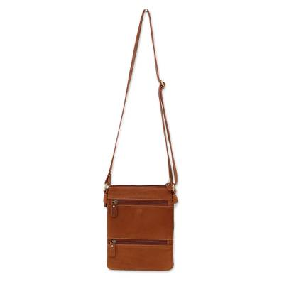 Handcrafted Leather Sling Handbag in Russet from Thailand