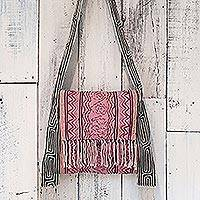 Hemp blend shoulder bag, 'Fresh Life in Carnation' - Hemp Blend Embroidered Thai Shoulder Bag in Carnation