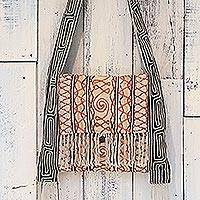 Hemp blend shoulder bag, 'Fresh Life in Buff' - Hemp Blend Embroidered Shoulder Bag in Buff from Thailand