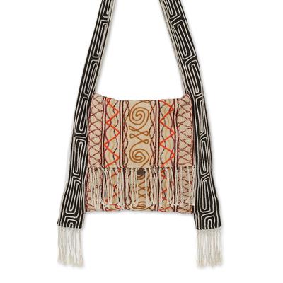 Hemp blend shoulder bag, 'Fresh Life in Buff' - Hemp Blend Embroidered Shoulder Bag in Buff from Thailand