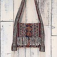Hemp blend shoulder bag, 'Fresh Life in Navy' - Hemp Blend Embroidered Shoulder Bag in Navy from Thailand