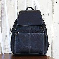 Leather backpack, 'Everyday Traveler' - Handcrafted Leather Backpack in Coal Black from Thailand