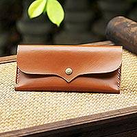 Leather wallet, 'Simple Traveler in Chestnut' - Handcrafted Leather Wallet in Chestnut from Thailand