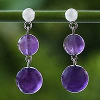 Amethyst dangle earrings, 'Thai Orbs' - Amethyst and Sterling Silver Dangle Earrings from Thailand