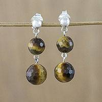 Tiger's eye dangle earrings, 'Thai Orbs' - Tiger's Eye and 925 Silver Dangle Earrings from Thailand