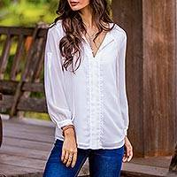 Lace accent blouse, 'Noble Grace in Eggshell' - Polyester Long Sleeve Tie Neck Blouse from Thailand