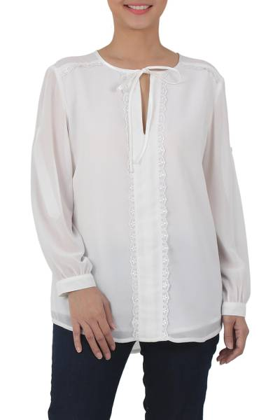 719855b491a519 Polyester Long Sleeve Tie Neck Blouse from Thailand, 'Noble Grace in  Eggshell'