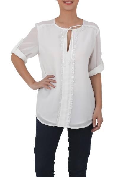 649b4ce3482aca Polyester Long Sleeve Tie Neck Blouse from Thailand, 'Noble Grace in  Eggshell'. Product ID: U36869