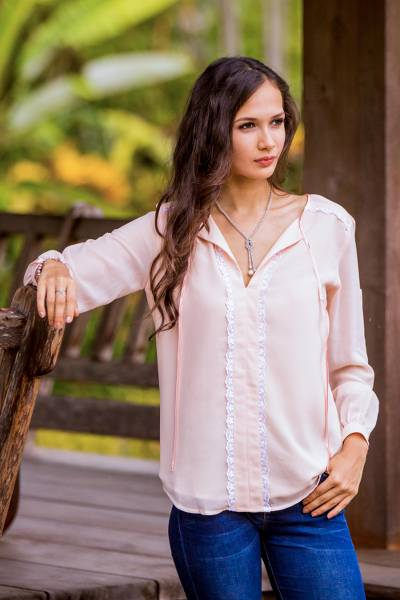 df106970dd9356 Lace accent blouse, 'Noble Grace in Petal Pink' - Pink Polyester Long Sleeve
