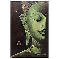 'The Calmness III' - Original Signed Painting of a Jade Buddha from Thailand