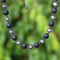 Onyx and hematite beaded necklace, 'Dark Cosmos' - Onyx and Hematite Beaded Necklace from Thailand