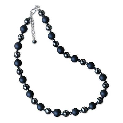 Onyx and Hematite Beaded Necklace from Thailand
