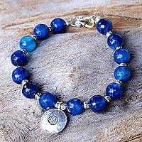 Agate beaded bracelet, 'Planetary Om' - Karen Silver and Agate Beaded Bracelet from Thailand