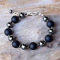 Onyx beaded bracelet, 'Dark Cosmos' - Onyx and Hematite Beaded Bracelet by Thai Artisans