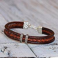 Silver accent braided bracelet, 'Russet Textural Contrast' - Leather Bracelet in Brown and Russet with Hill Tribe Silver