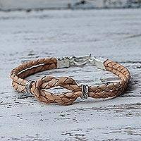 Silver accent braided leather bracelet, 'Square Knot in Tan'