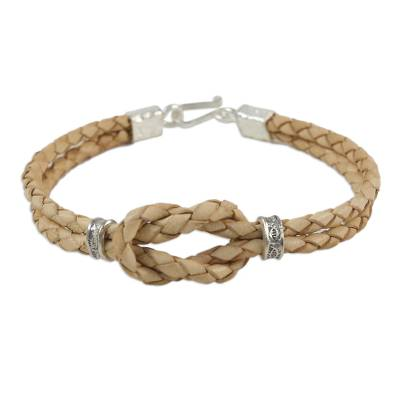 Silver accent braided leather bracelet, 'Square Knot in Tan' - Braided Tan Leather Bracelet with Silver 950 Accents