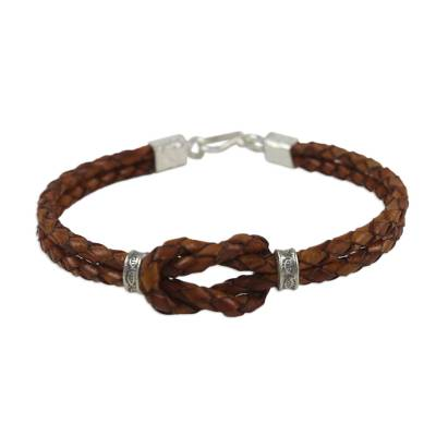 Handcrafted Brown Leather Silver Accent Infinity Knot Wristband Bracelet