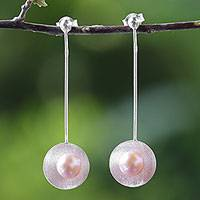 Cultured pearl drop earrings, 'Saucer Glow' - Cultured Pearl and Sterling Silver Earrings from Thailand