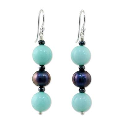 Cultured Pearl and Quartz Multi-Gem Earrings from Thailand