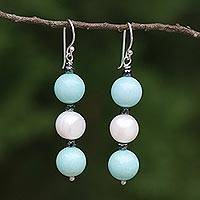 Multi-gemstone dangle earrings, 'White Center' - Cultured Pearl and Quartz Multi-Gem Earrings from Thailand