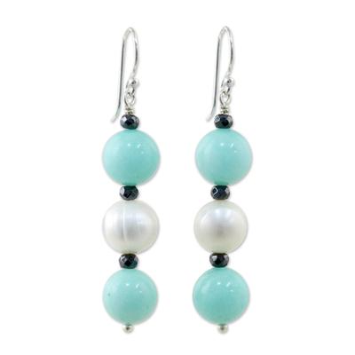 Multi-gemstone dangle earrings, 'White Center' - Cultured Pearl and Quartz Multi-Gem Earrings from Thailand