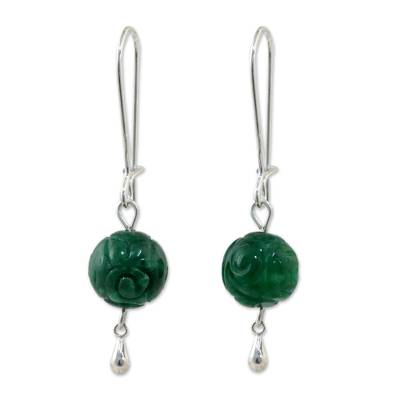 Green Quartz and Sterling Silver Earrings from Thailand