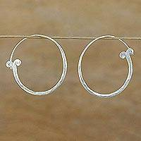 Silver hoop earrings, 'Meteor Curls' - Handcrafted Karen Silver Hoop Earrings from Thailand