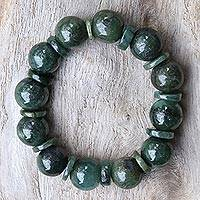 Jade beaded stretch bracelet, 'Simply Green'